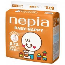 """Детские подгузники """"Nepia Baby Nappy"""" (для мальчиков и девочек) 72шт 4-8кг (Размер S)"""