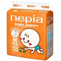 """Детские подгузники """"Nepia Baby Nappy"""" (для мальчиков и девочек) 63шт 6-12 кг (Размер М)"""
