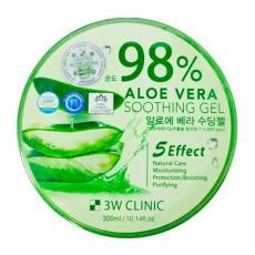 3W CLINIC Универсальный увлажняющий гель с алоэ вера 98% Aloe Vera Soothing Gel, 300g